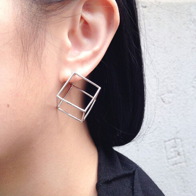fa42026f0 2017 Creative 3D Geometric Cubic Stud Earrings for Women Three-dimensional  Square Ear Studs Earing Jewelry Brincos Gifts XR179
