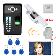 HD 720P Wireless WIFI RFID Password Fingerprint Recognition Video Door Phone Doorbell Intercom System+ Electric Strike Lock
