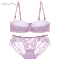 Sexy Mousse Elegant Lace Floral Underwear Ladies Girls Half Cup Smooth Invisible Every Day Bras Set