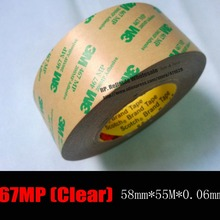 0,06 мм(толщина 2,3 милс) 58 мм* 55 м* 3 м 467 МП двухсторонняя прозрачная клейкая лента для передачи для таблички, переключатель дисплея металлическая рамка