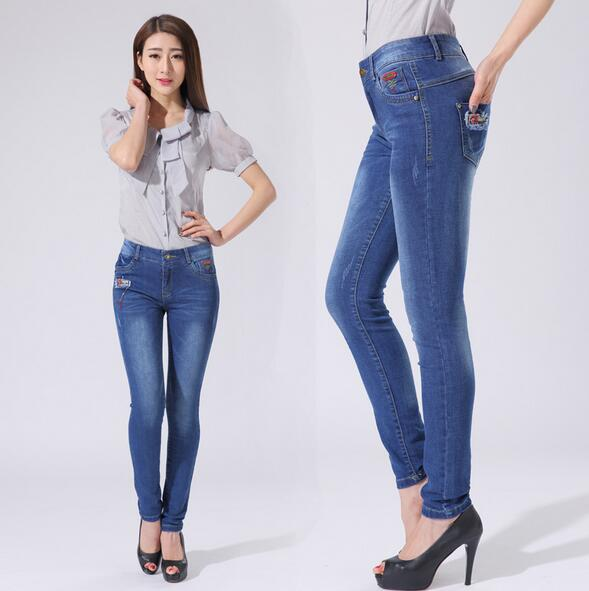 New women pencil jeans spring autumn fashion Slim blue denim pants stretchy trousers for ladies size