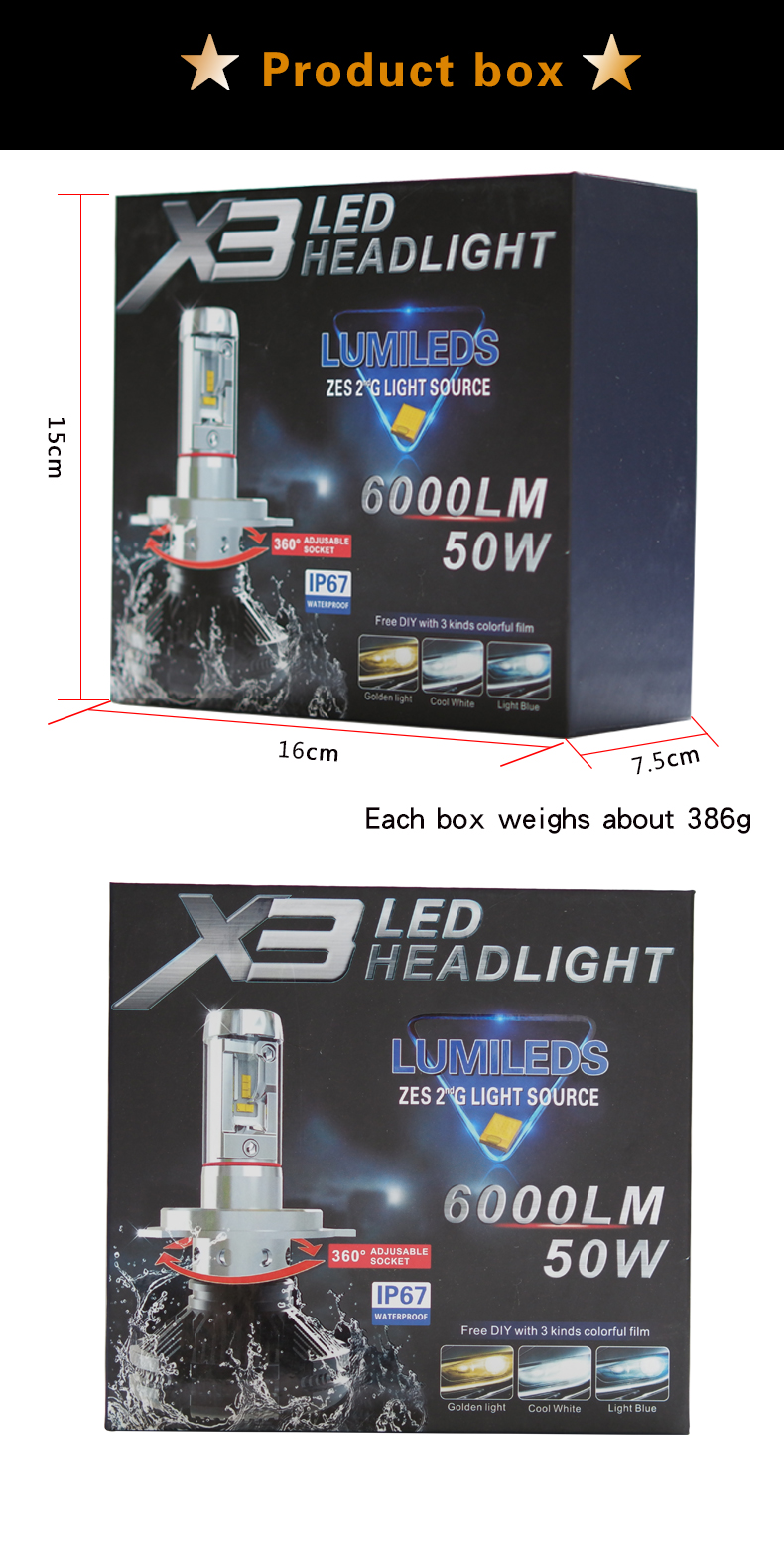 SET LEUCHTEN H7 LED X3 LED HEADLIGHT 6000LM 50W LUMILEDS ZES 2G ALUMINIUM IP67