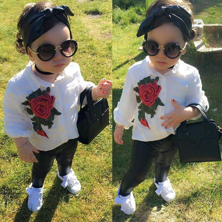 Girl clothes Todder Child Kids Girls Rose Appliques T-Shirt Tops +Pants 2PCS Outfits Set m1