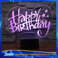 3D Vision Stag LED Acrylic Plate 7 Colors Gradients Happy Birthday Desk Lamp Bedroom Decoration Night