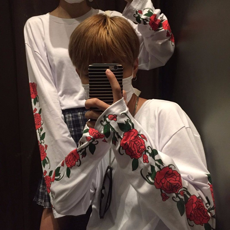 HTB1q6UiNVXXXXXxXVXXq6xXFXXXL - Long sleeve T-shirt men women print flower rose white