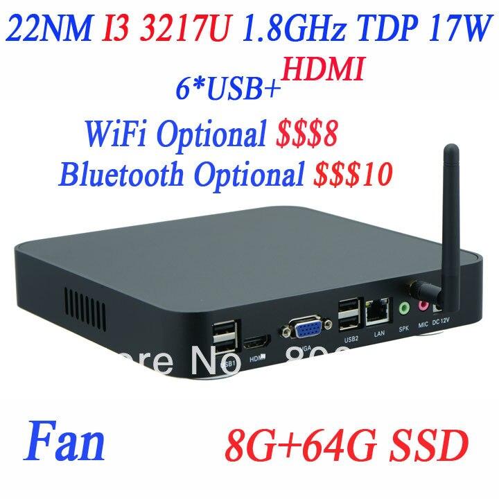 Venta al por mayor Mini HTPC PC computadoras con I3 3217u 1.8 Ghz con Intel NM70
