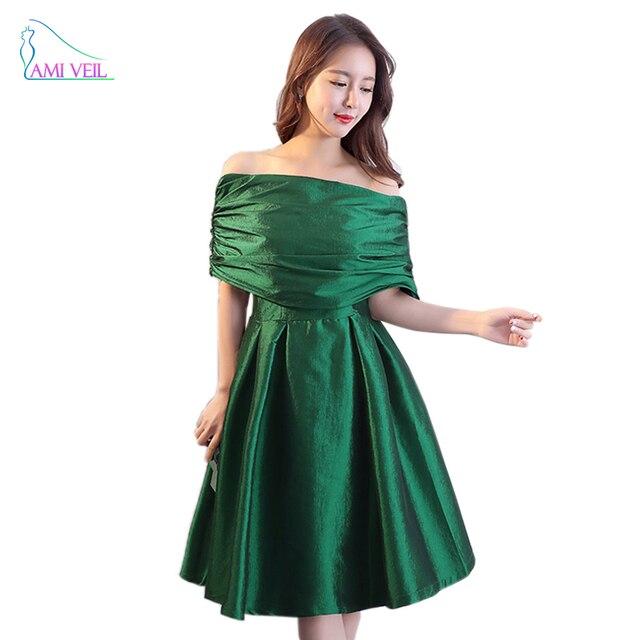 bf6808a1d82 Off Shoulder Half Gown Dresses Pleat Evening Party Dress Women Emerald  Green Formal Dress Cheap Luxury Prom Robe De Soiree GQ822
