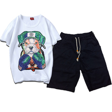 Men Summer Casual Sport Embroidery Boxing Dog White T Shirt Top Tee Suit Sets Black Pants
