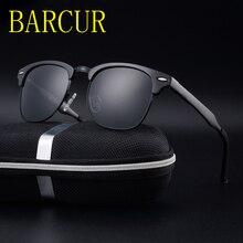 BARCUR New Drive Brand Designer Aluminum TR90 Sunglasses Polarized Mirror lens Male oculos Sun glasses Eyewear For Men