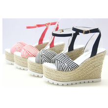 Bohemia Stripe Women Wedge Sandals 2015 New Arrival Straw Plaited Sole Summer Platform Shoes High Heel zapatillas mujer