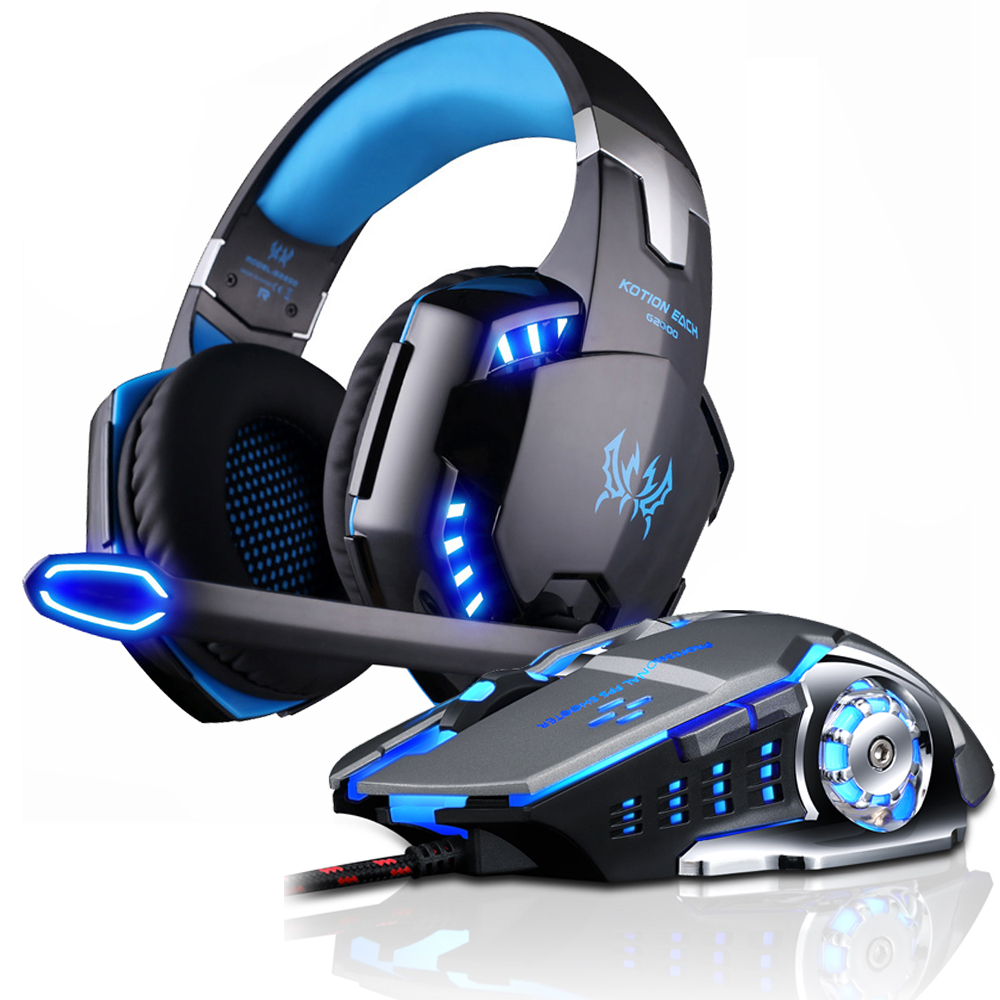 Over-Ear Game Headset Earphone Headband w//Mic Stereo Bass LED Light for PC Blue