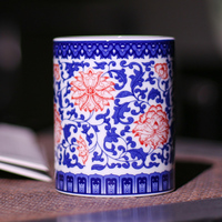 Traditional Chinese Style Classic Jingdezhen porcelain pen container White and Blue Porcelain