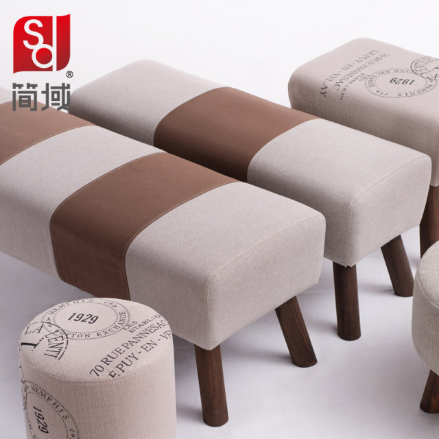Ordinaire Jane Domain Small Sofa Stool Changing His Shoes Stool Fashion Simple Solid  Wooden Bench Fabric Bed