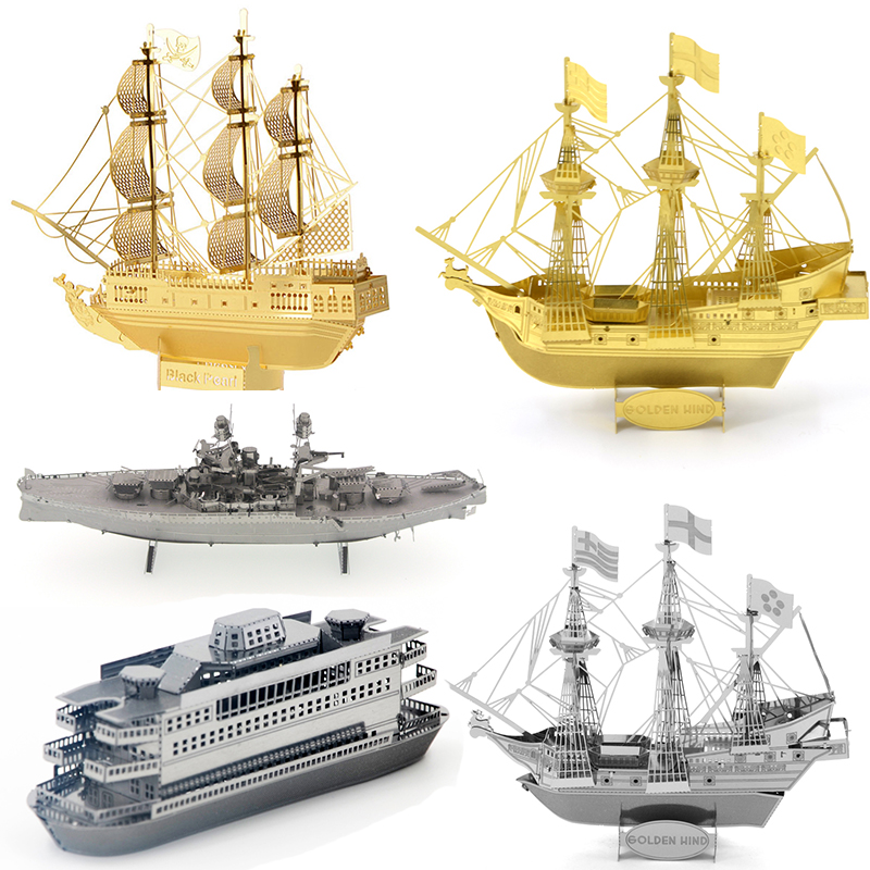 3D Metal Model <font><b>Puzzle</b></font> Black Pearl/Golden Hind/COMMUTER FERRY/USS <font><b>ARIZONA</b></font> Ship Series Adult Children Parent-child Interactive Toy