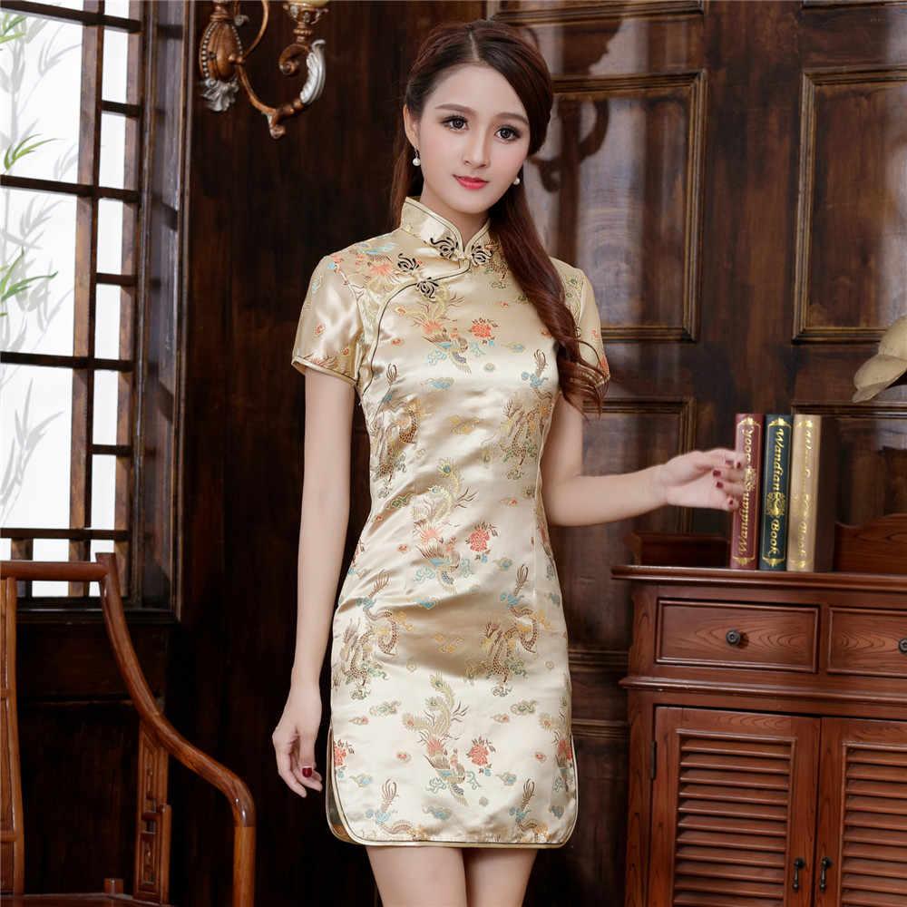 69d2346c0 Vintage Gold Chinese Women Short Dress Sumer Satin Cheongsam Sexy Qipao  Floral Wedding Evening Party Dress