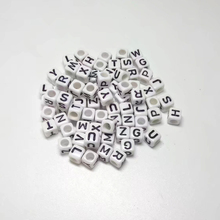 5PCS White Alphabet Letter A-Z Acrylic Cube Beads For DIY Jewelry Making 6x6mm(1/4″x1/4″)