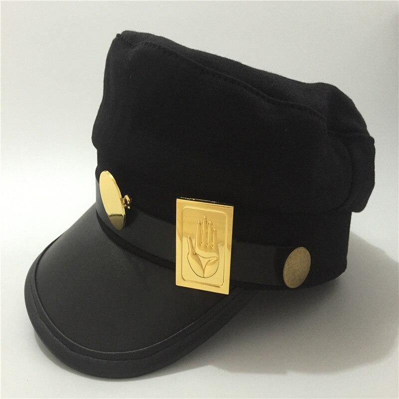 Anime JoJo's Bizarre Adventure Jotaro Kujo Joseph Army Military Cap Hat+Badge Cosplay Costumes Animation