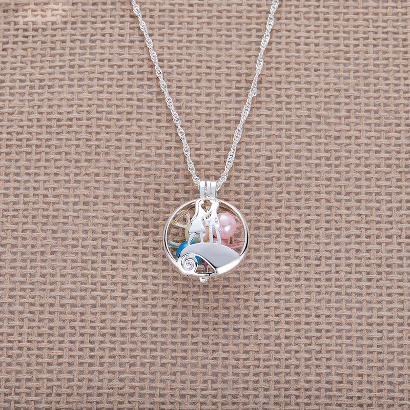 DCARZZ Pearl Pendant Nightmare Before The Christmas Jack Sally Necklace Trendy Jewelry Women Gift Silver Chain Long Necklace