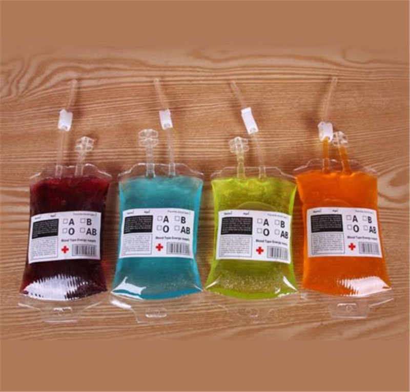 5pcs Clear Blood Juice Drink Bag For Milk Coffee Red Wine Beer Halloween Event Party Supplies Pouch Vampires Reusable Bags