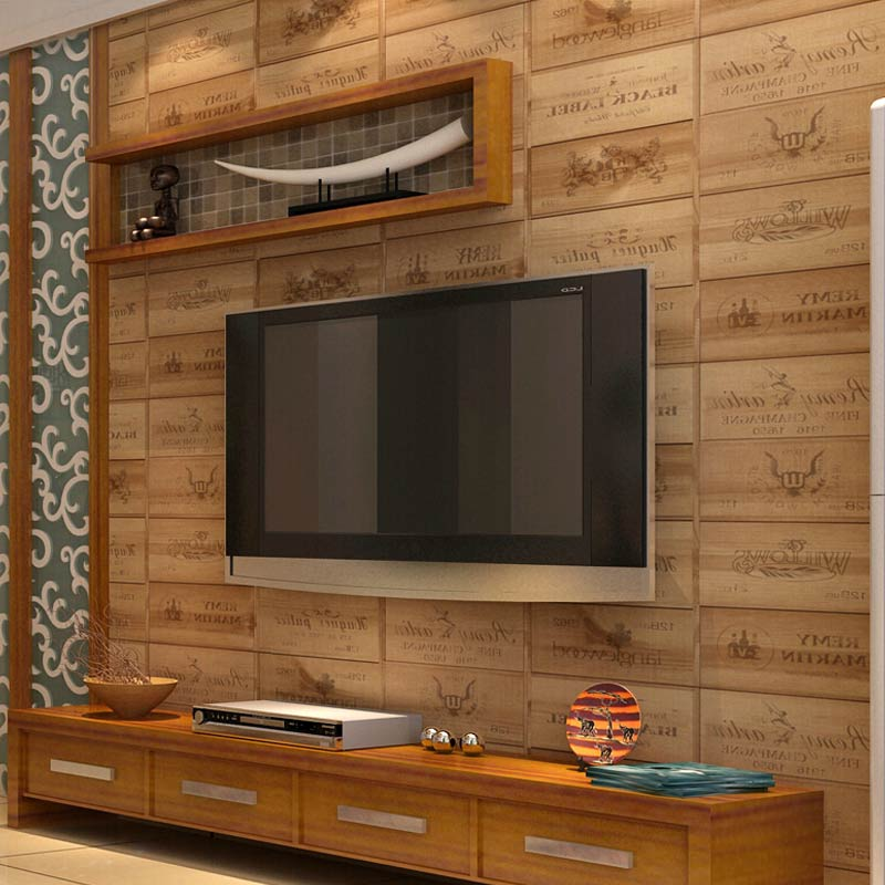 European Style Wood Texture Letter Vinyl Wallpaper Kitchen Living Room  Restaurant 3D PVC Waterproof Wall Paper