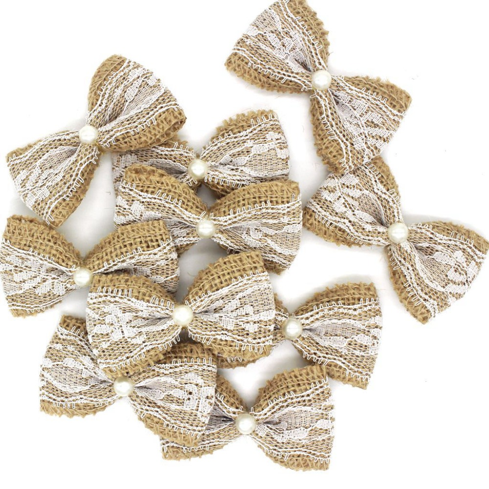 10pcs Vintage Natural Jute Burlap Hessian Bows Lace Ribbon Wedding Decoration Rustic Mariage Jute Burlap Ribbon Bow Knot #536840