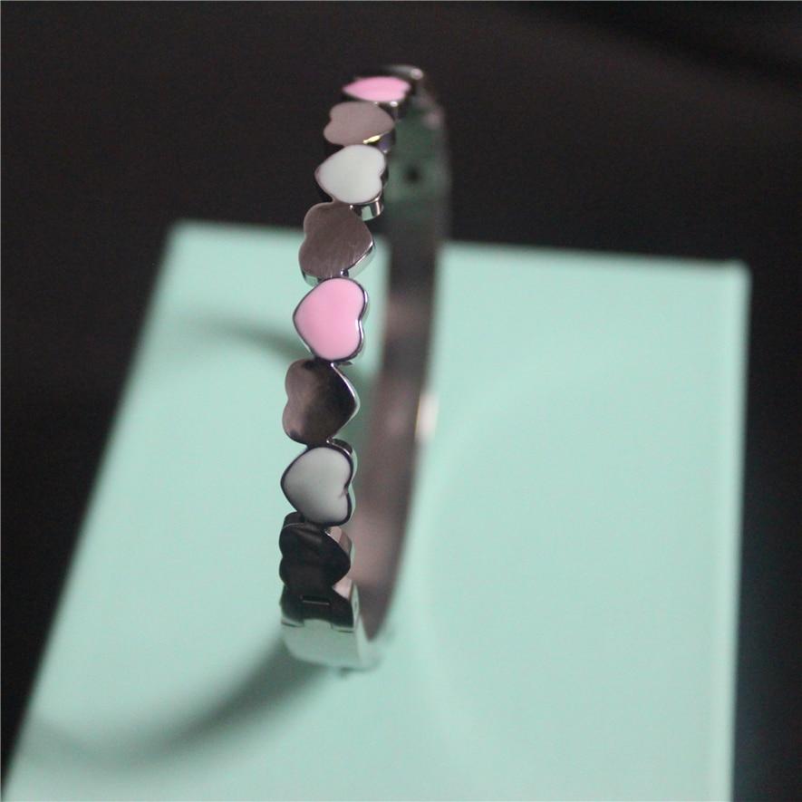 Fashion Pink Heart Bracelet Femme 2017 New Arrivals Stainless Steel Bracelets For Women Men Jewelry High Quality LOGO T Brand