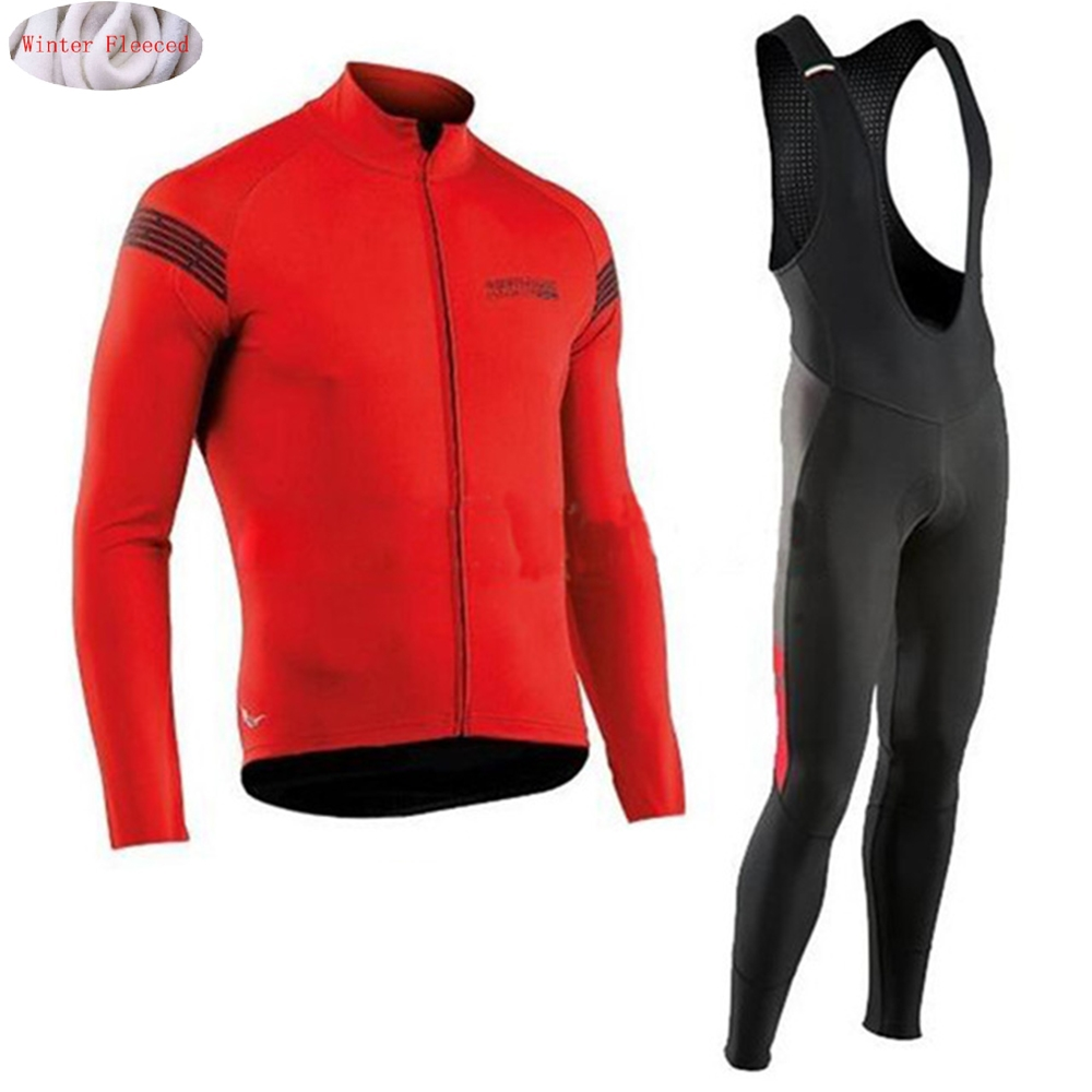 NW 2018 Cycling Winter Thermal Fleece Jersey Bicycle Cycling Bib Pants Warm Jacket Clothes MTB Bike Maillot  Northwave santic cycling pants road mountain bicycle bike pants men winter fleece warm bib pants long mtb trousers downhill clothing 2017