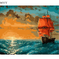No Frame Sailing Boat DIY Oil Painting By Numbers Kit Paint On Canvas Home Wall Art