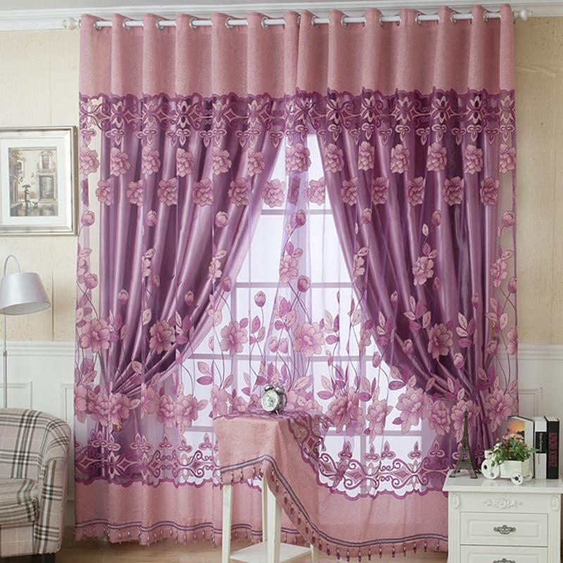 Edal Floral peonía patrón tul sala de estar cortinas ventana 100*250 3x2,9 m cuerda cortina Flash línea brillante borla cuerdas puerta ventana Decorective divisor cortina purpurina cenefa decoración del hogar