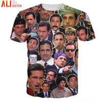 Muitos rostos de michael scott t-shirts hip hop 3d t camisas alisister t roupas de pulôver de verão masculino crewneck topos navio da gota