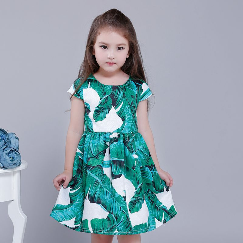 The new children 's dress girl dresses Europe and the United States banana leaf princess children' s clothing 3-13t