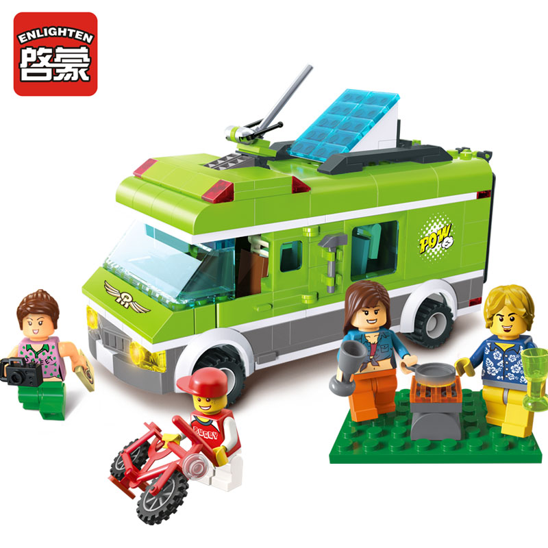 1120 Enlighten City Happy Journey Truck Camping Car Model Building Blocks DIY Action Figure Toys For Children Compatible Legoe 1402 enlighten star wars 8 in 1 aircraft carrier ship tank model building blocks diy figure toys for children compatible legoe