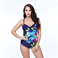 Plus Size Swimwear Women One Piece Swimsuit 2017 Floral Print Swimwear Large Size Vintage Retro Swimsuit