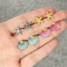 Vintage Geometric Stud Earrings For Women Girls 2019 Fashion Crustal starfish Shell Small Earrings Boucle d'oreille Femme недорго, оригинальная цена