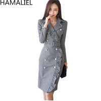 HAMALIEL Women Double Breasted Business Dress 2018 Winter Tweed Plaid Long Sleeve Ruffles Bodycon Sashes Lapel Collar OL Dress
