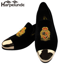 Harpelunde Motif Bullion Men Wedding Shoes Black Velvet Loafers With Copper Cap Toe