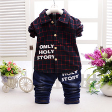 2colors baby boy Spring Autumn clothing set 2016 new toddler kids shirt + pants tracksuits cotton casual children clothing