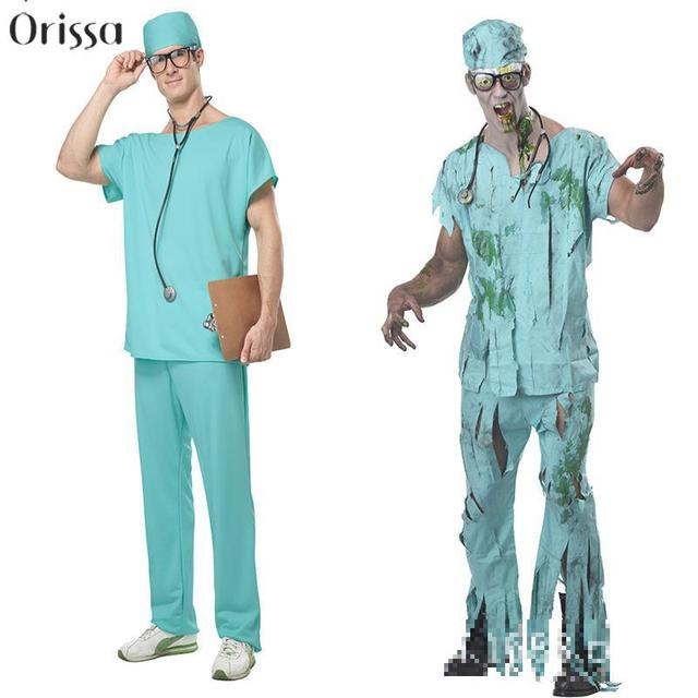 2016 new arrival halloween masquerade doctor scrubs cosplay costume clothes men nurse uniforms nightclub ds clothing - Halloween Scrubs Uniforms