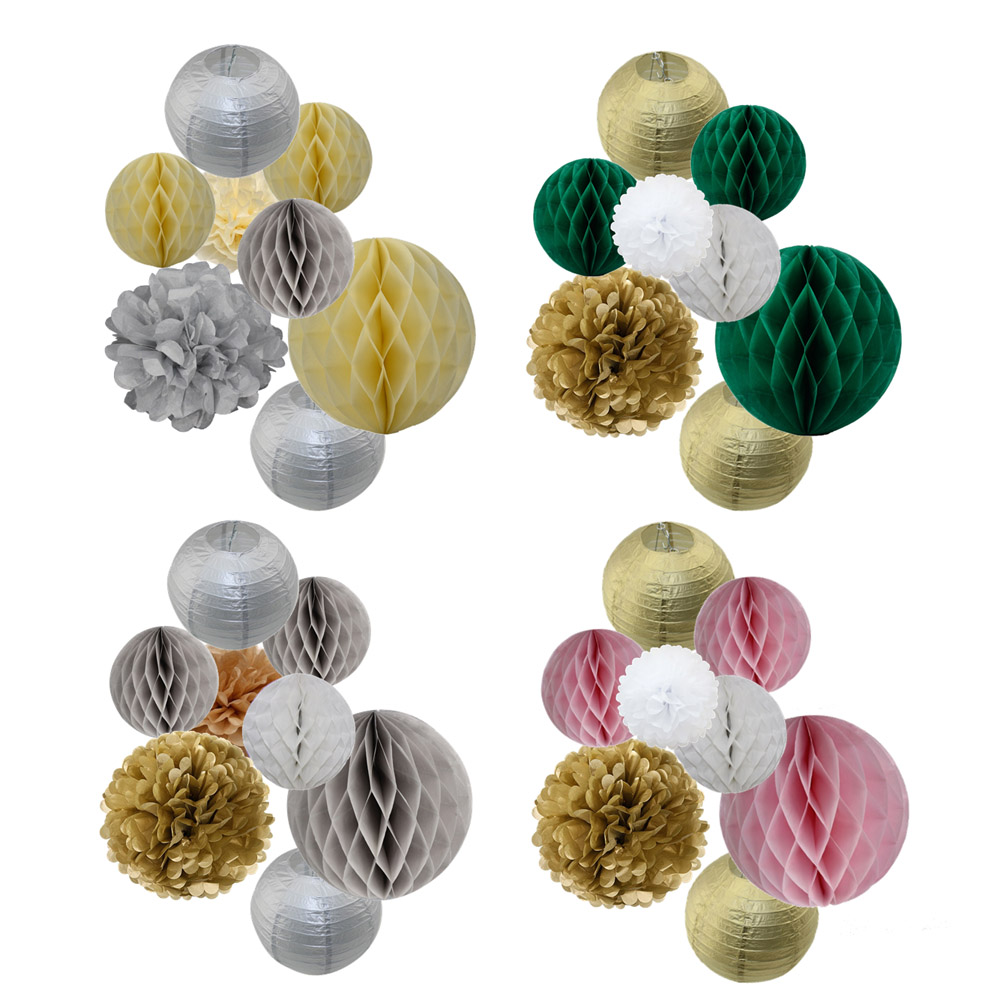 2018 New 8pcs/set Gold/Silver Set 8 10 Mixed Size Round Paper Ball Lanterns Tissue Pom Pom For Baby Shower/Wedding Party Decor2018 New 8pcs/set Gold/Silver Set 8 10 Mixed Size Round Paper Ball Lanterns Tissue Pom Pom For Baby Shower/Wedding Party Decor