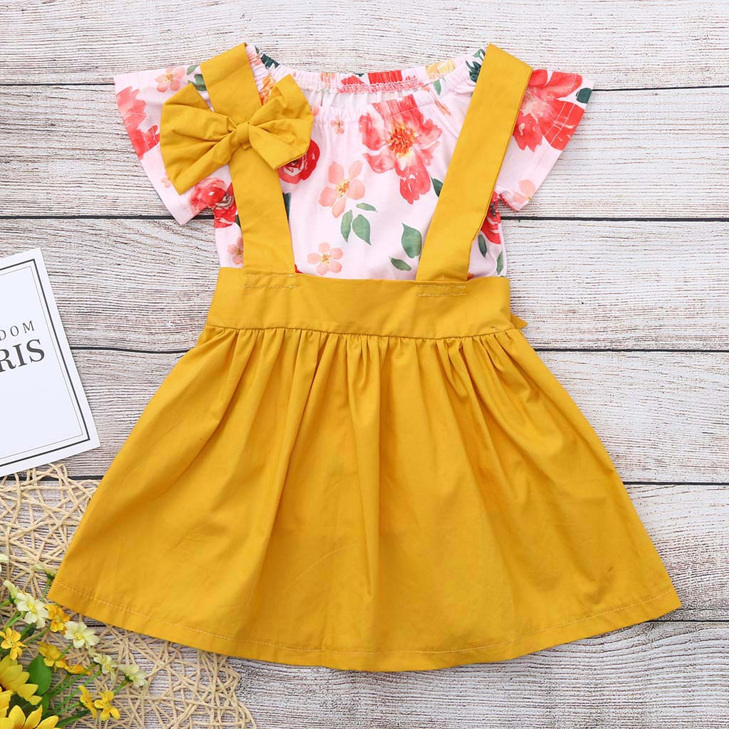 Girls' Baby Clothing Professional Sale Muqgew Newborn Kids Baby Girls Flower Romper Bodysuit+overalls Skirt Clothes Outfits Ruffles Romper Tops Floral Skirts For Baby Curing Cough And Facilitating Expectoration And Relieving Hoarseness Clothing Sets