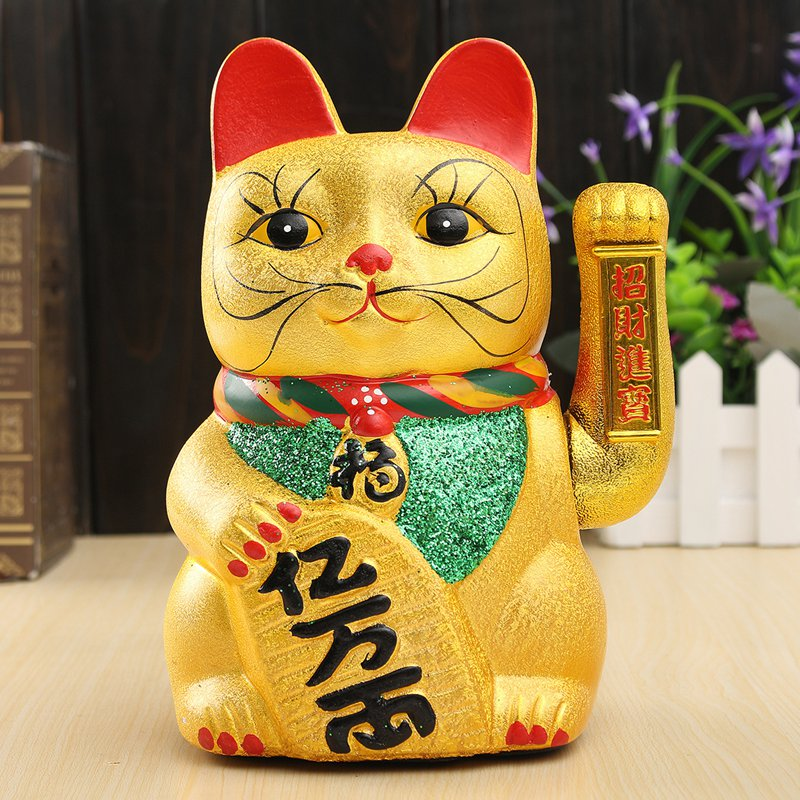 Cute Lucky Feng Shui Electric Waving Cat Beckoning Golden Ceramics Lucky Cat Powered by Battery Wealth Prosperity Crafts 8 21cm