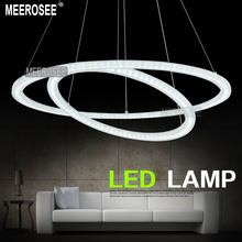 White Acrylic LED Chandelier Light Two Rings LED Circle Chandelier Lustres Light Fixture MD5000