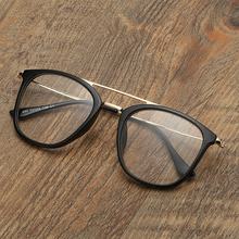 Double Bridge Black Retro Frame Custom Made Prescription Glasses Photochromic Grey/ Brown Myopia Near-sighted