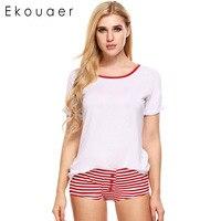 Ekouaer 2017 Women Pajama Sets With Cute Pyjamas Sweet Candy Color Home Clothing Short Sleeve Striped