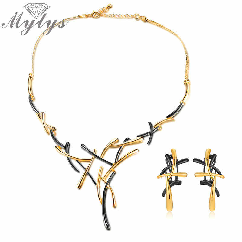 Mytys Geometric Cross Gold Gun Mix Color Metallic Earrings Necklace Sets Statement  Punk Jewelry Sets for Women CN363 CE341