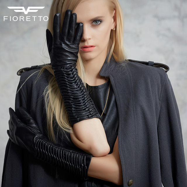 200e9d44df520 Fioretto Women Winter Long Leather Gloves Elbow Zipper Thermal Thin Lined Gloves  Lambskin Bands Leather Mittens for Pary F15538
