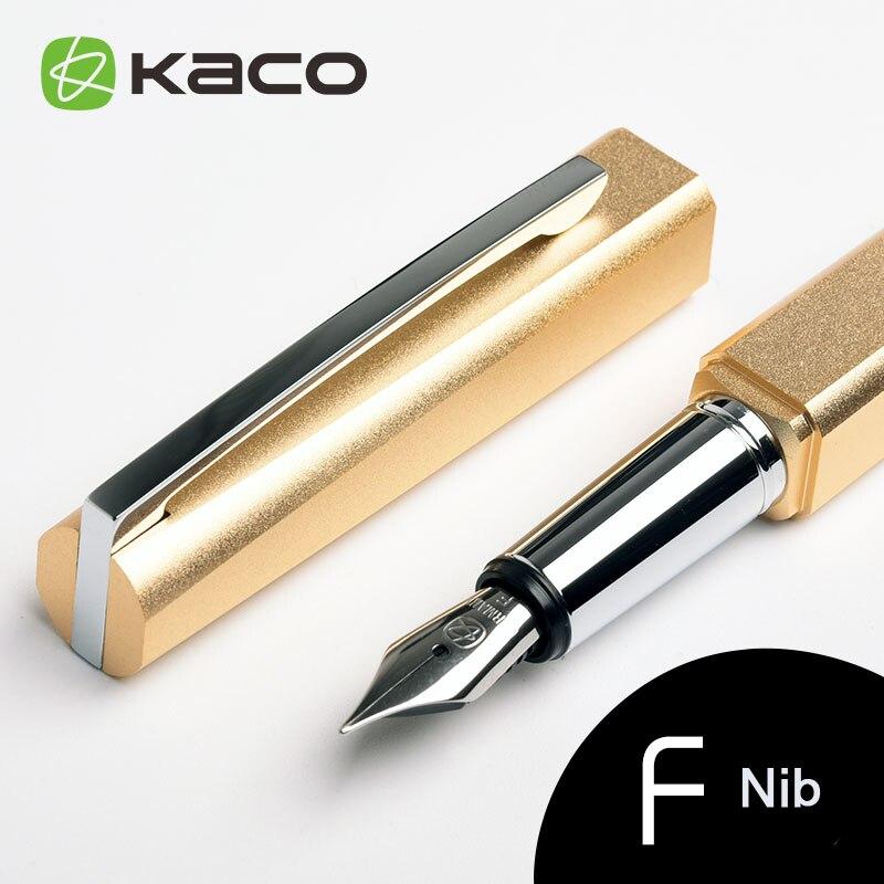 KACO série carrée haute qualité bleu ciel avec Clip argent stylo plume avec étui cadeau Original 0.5mm F Nib stylos à encre en métal