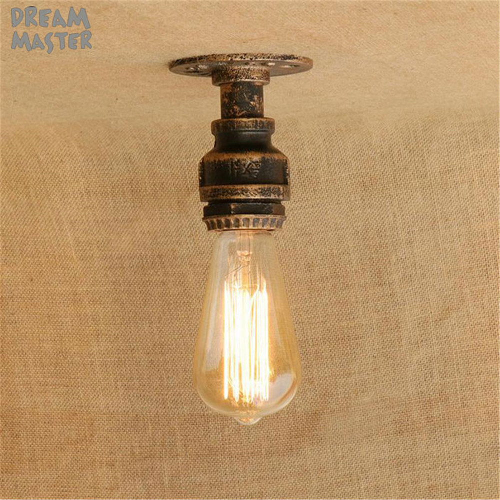 2019 New Mini Pipe Ceiling Lights Vintage E27 Loft Surface Mounted Ceiling Light Fixtures Industrial Iron Pipe Lamps Promotion