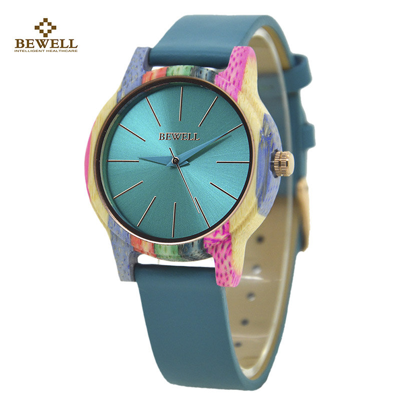 BEWELL Watch Clock Leather-Strap Fashion Luxury with for Female Lady Comfort Colorful