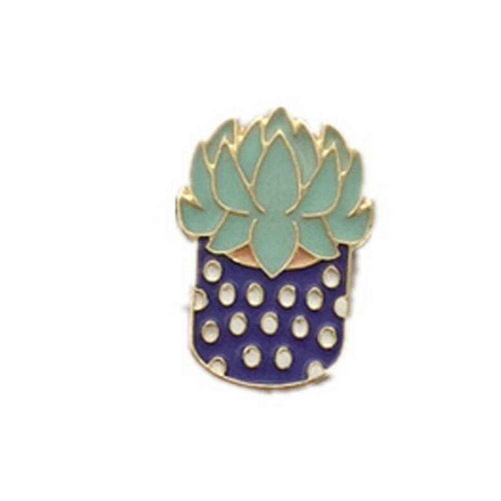 New Style Enamel Metal Plant Cactus Brooch Pin Fashion Jewelry Accessories In Brooches From